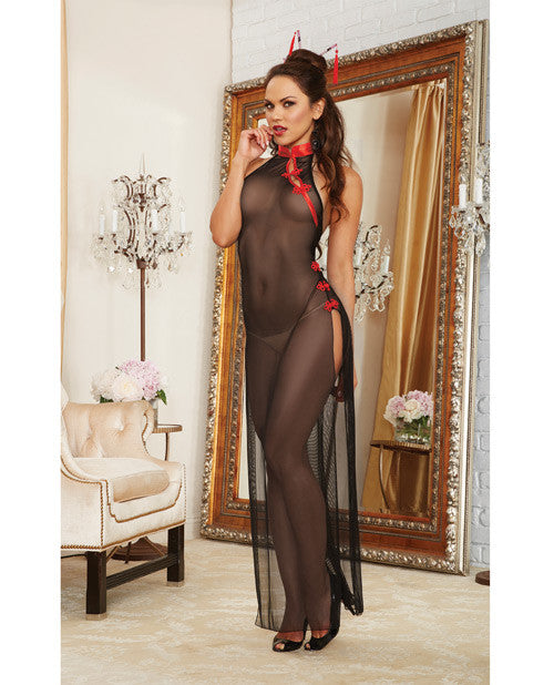 2 pc Mesh Halter High Slit Gown w/Collar & Decorative Fasteners & Hair Chopsticks Black/Red O/S