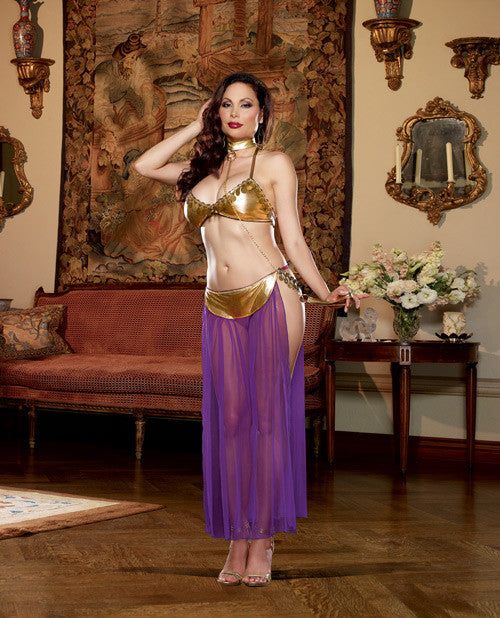 3 pc Halter Bra w/Coin Trim, Thong w/Attached Mesh Skirt & Neck Collar w/Chain Leash Gold QN