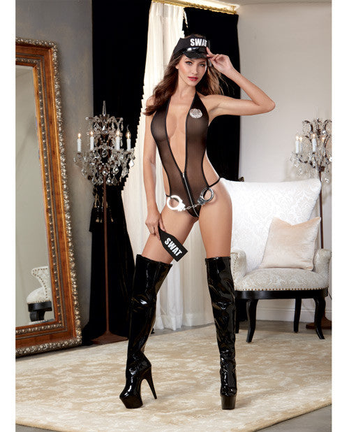 5 pc Stretch Fishnet Halter Teddy w/Front Zipper, Badge, Handcuff Belt, Cap & Paddle Black O/S