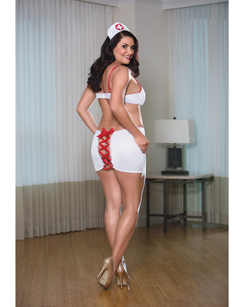 Nurse Bra Skirt Set White/Red 2X