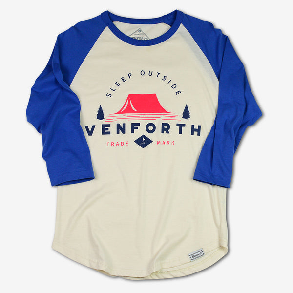 Unisex Ven Forth Ven-forth Baseball beige and royal blue t-shirt for both men and women- outdoor fashionable apparel goods