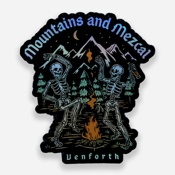 Mountains and Mezcal Holographic Sticker