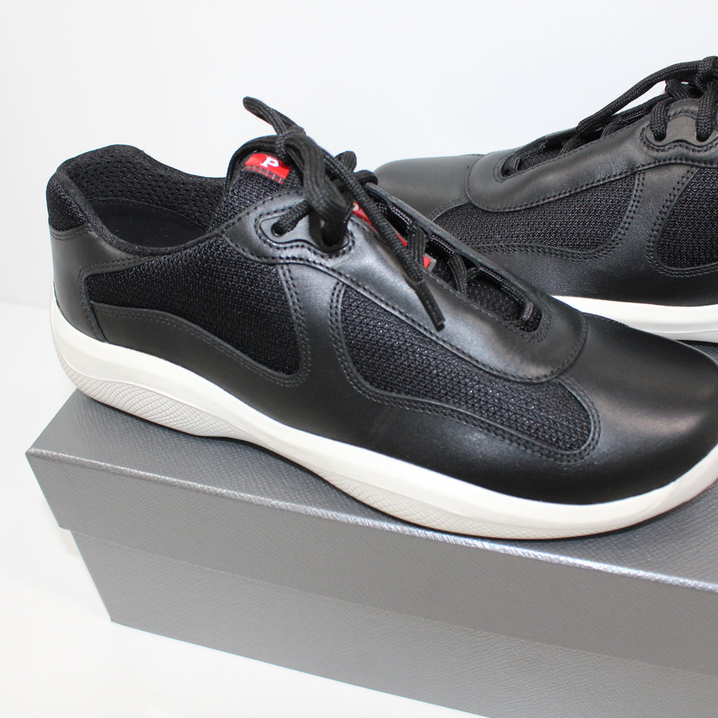 Prada Americas Cup Black & White Leather Trainers