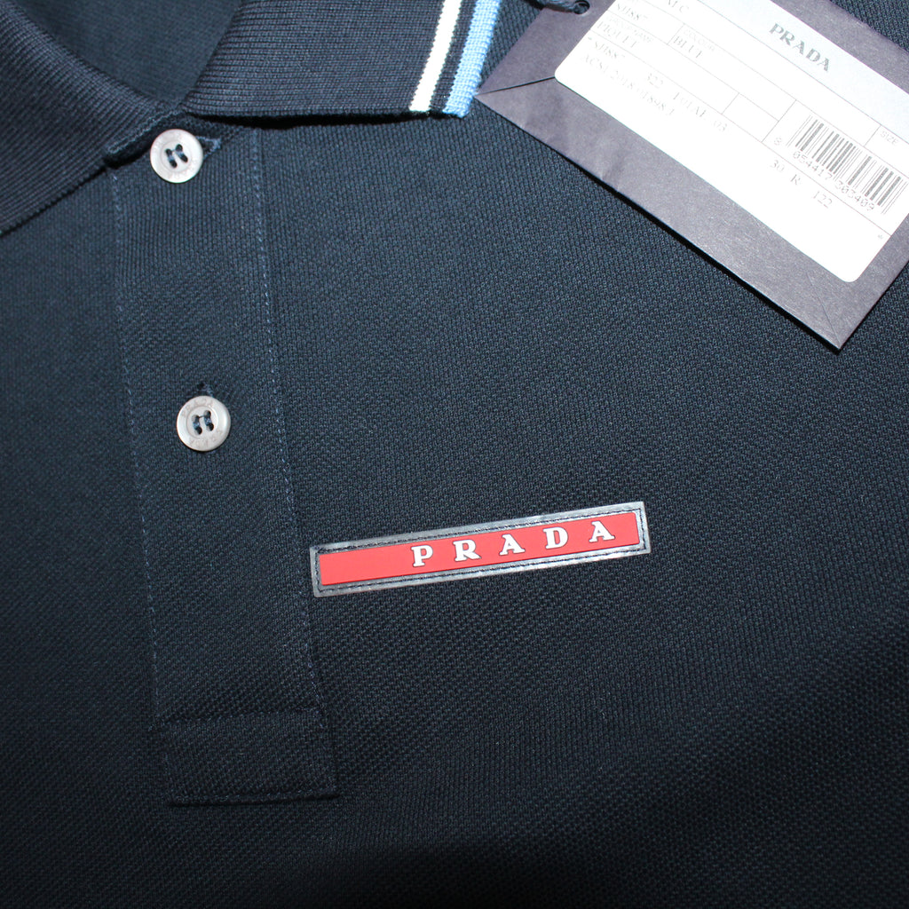 Prada Short Sleeve Polo Navy Blue