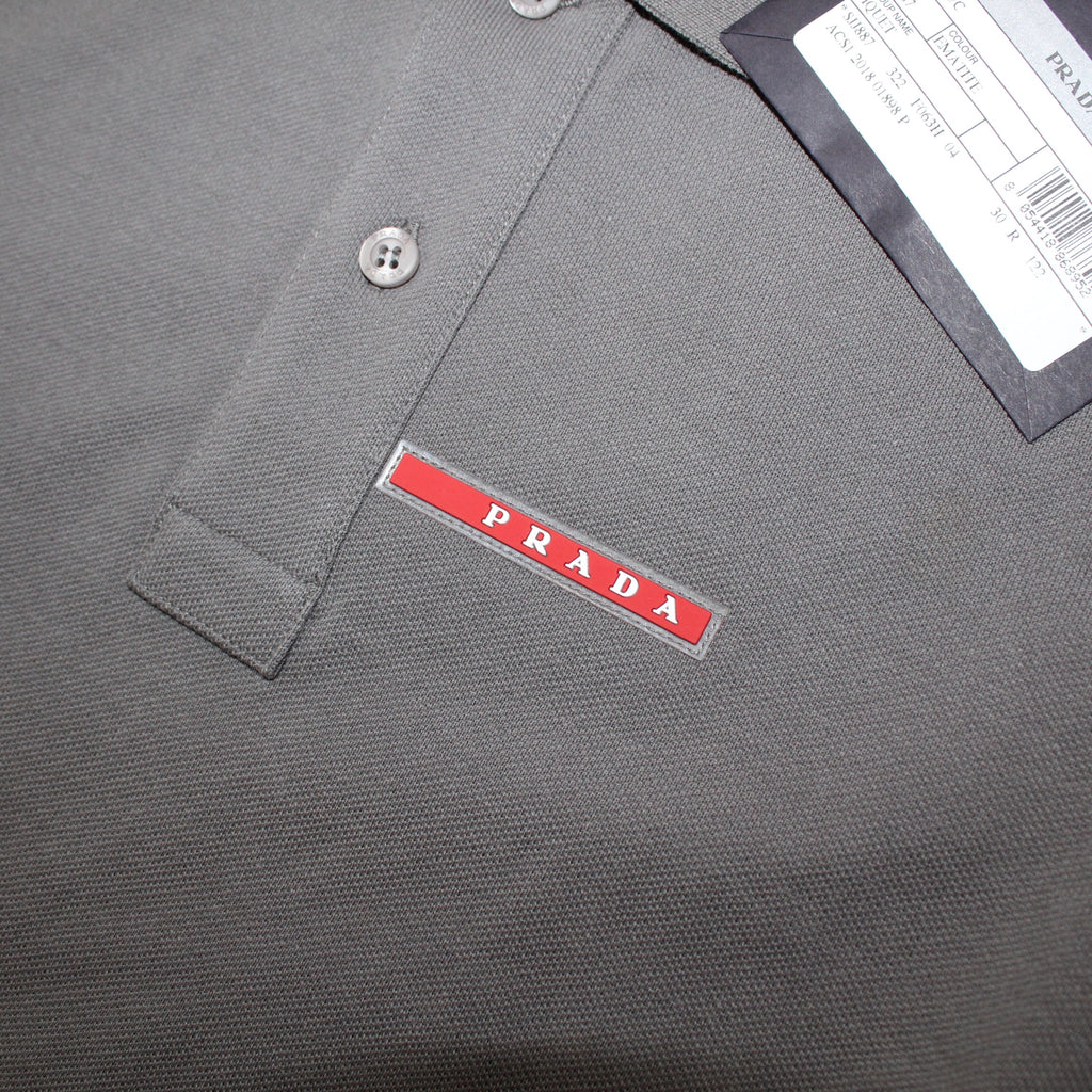 Prada Short Sleeve Polo Grey