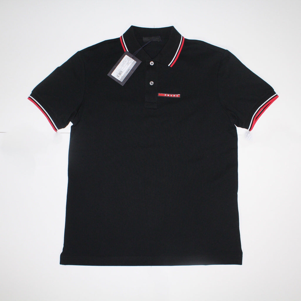 Prada Short Sleeve Polo Black