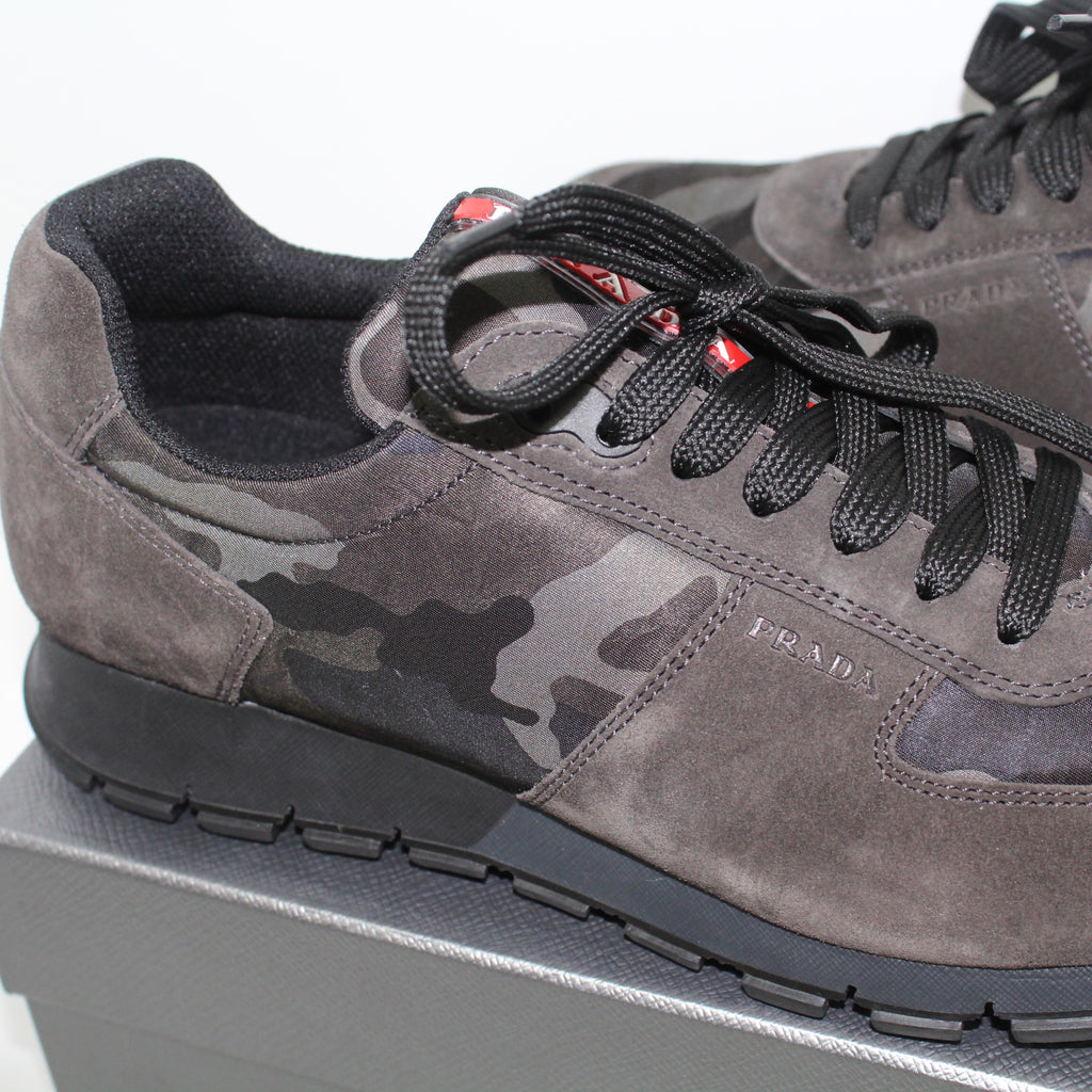 Prada Camo Dark Grey Suede Runners
