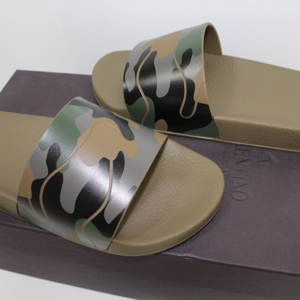 Valentino Camouflage Sliders Green