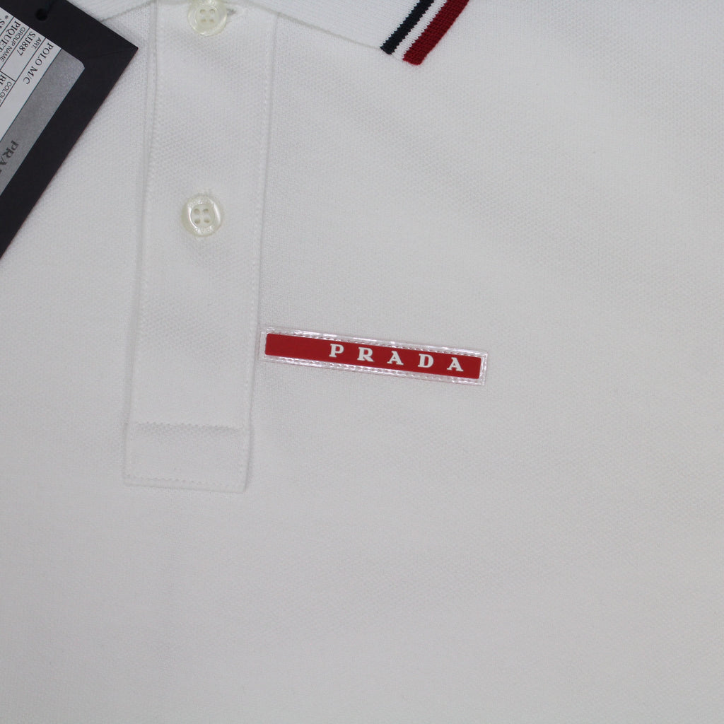 Prada Short Sleeve Polo White