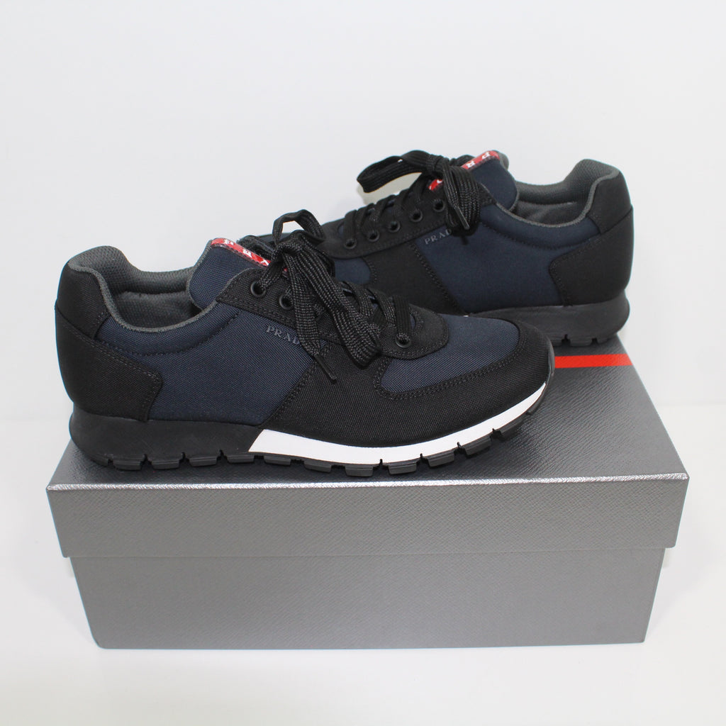 Prada Navy And Black With White Trim Runners