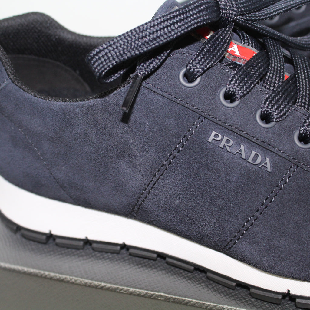 Prada Navy Suede White Trim Runners