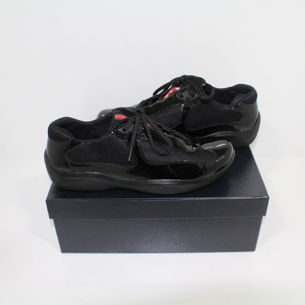Womens Prada Americas Cups Patent Black Trainers