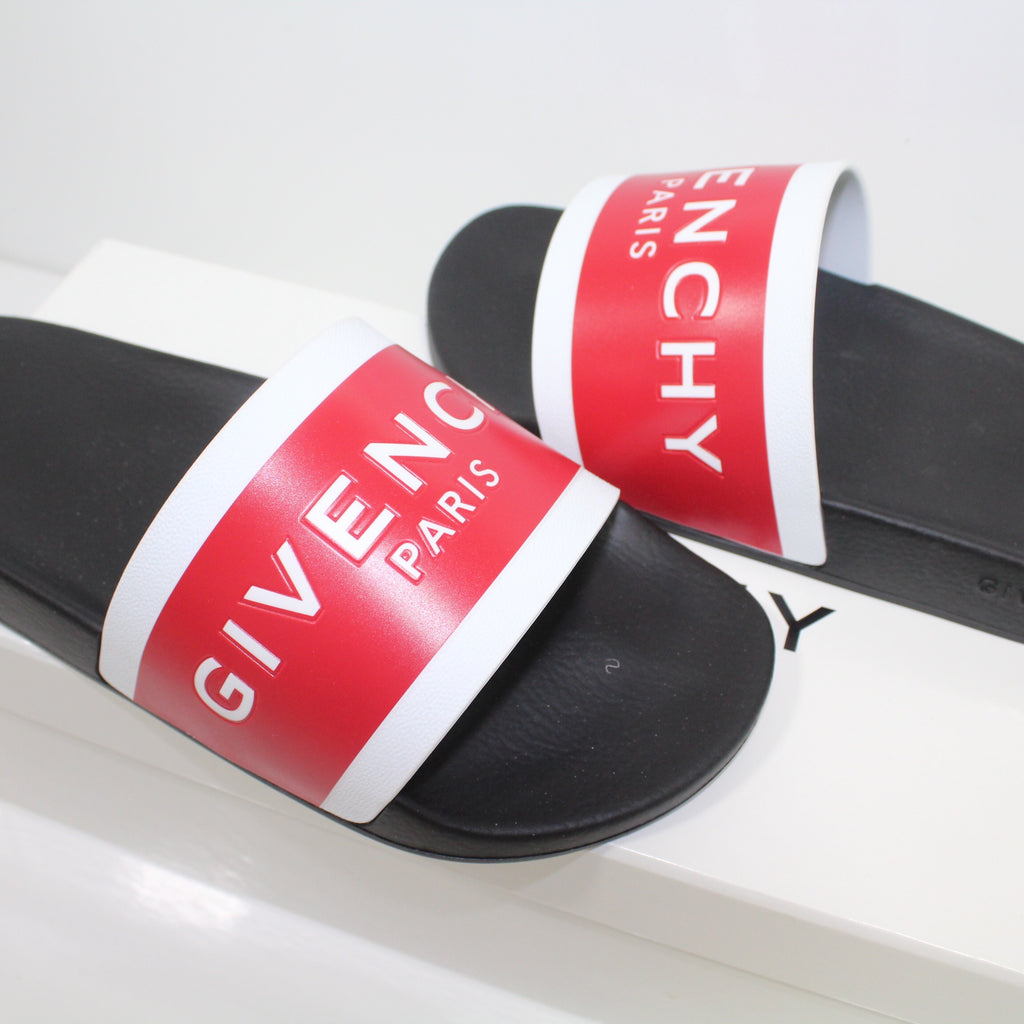 Givenchy Logo Sliders Red And White