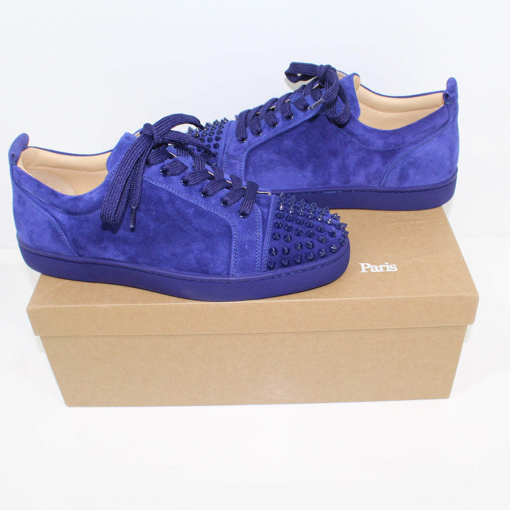 Christian Louboutin Louis Junior Spikes Flat Blue Suede