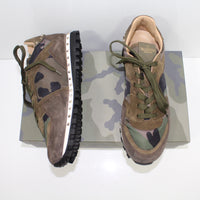 Valentino Studded Nylon And Suede Trainers Green Camo