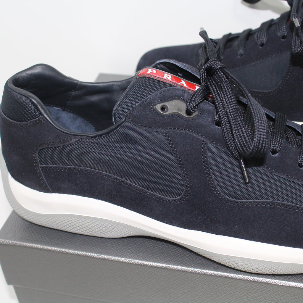 Prada Americas Cup Navy Suede Trainers