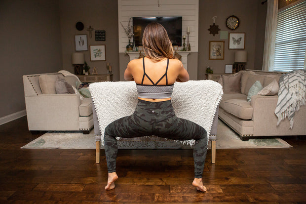 bao bei gray maternity bralette yoga pose in living room
