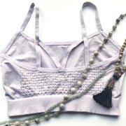 back of lavendar bralette with jade beads