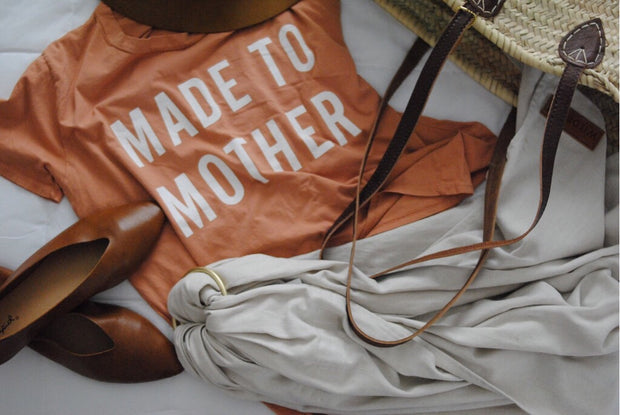 Laydown made to mother tee bag and shoes