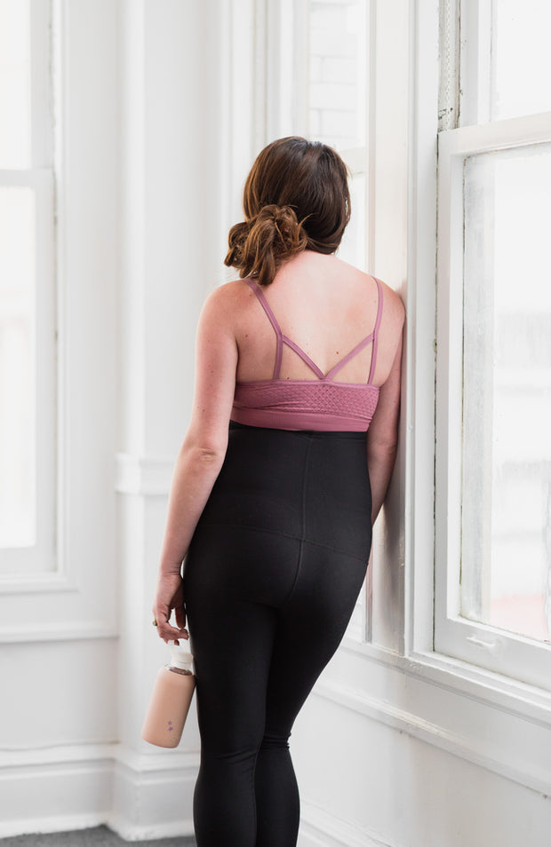 Back of seamless maternity and nursing bralette in color latte