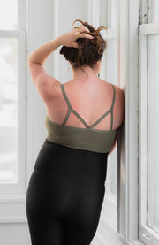 Back of seamless maternity and nursing bralette in color olive