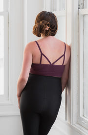 Back of seamless maternity and nursing bralette in color plum