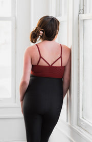 Back of seamless maternity and nursing bralette in color spice