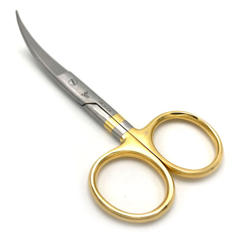 """Dr Slick 4.5/"""" Hair Scissors Straight//Curved Serrated Blade Gold Loops"""