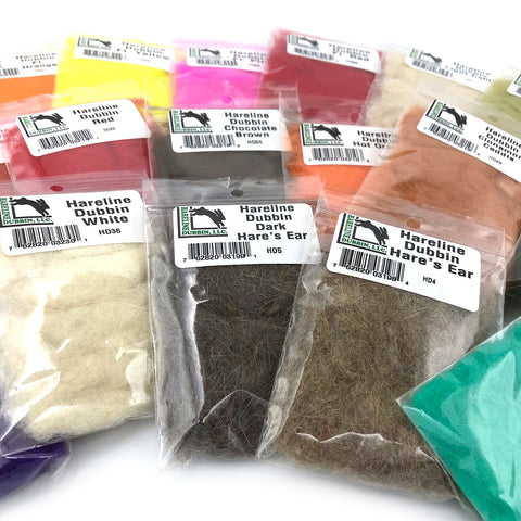 Fly Tying 100/% Rabbit Hair Dubbing Dub Fur 12 Colors HARELINE DUBBIN DISPENSER