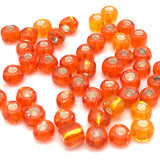 Tyers Glass Beads - Silver Lined Orange