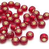 Tyers Glass Beads - Silver Lined Red