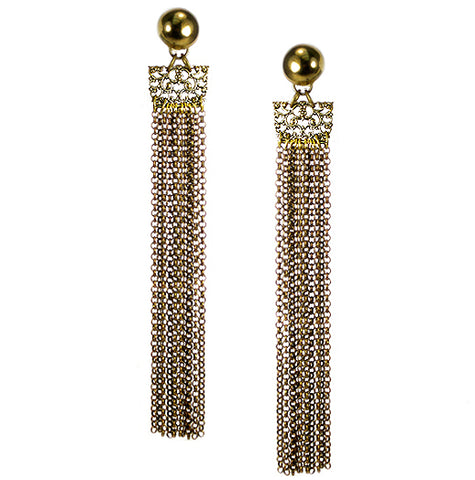 #865e Brass Chain & Gold Tone Fligree Shoulder Duster Earrings