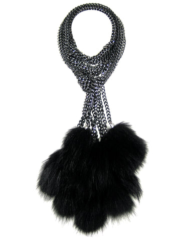 #893n Black/Silver Chain Mail Lariat/Belt With Black Fur Tassel