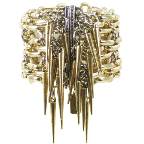 #1009bg Gold Tone Aluminum Chain Cuff With Spikes
