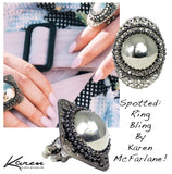 #121r Silver Tone Oval Filigree & Rhinestone Ring