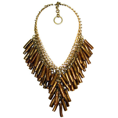 #1040n Gold Tone Chain Mail With Bamboo Fringe