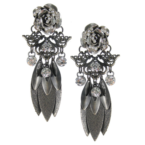 #1106e Gunmetal Floral Rhinestone & Filigree Drop Earrings