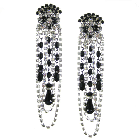#1108e Crystal Rhinestone & Jet Glass Shoulder Duster Earrings