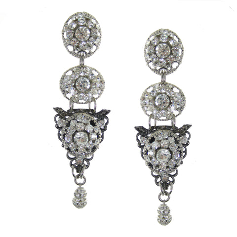 #1109e Crystal Rhinestone & Filigree Button Drop Earrings