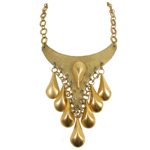 #1130n Gold Tone Bib Necklace With Teardrop Fringe