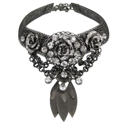 #1137n Gunmetal Metal Mesh Collar & Bib With Rhinestone & Filgree Floral Detail