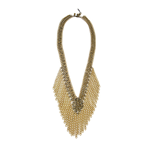 #979n Gold Tone Chain Long Fringed Bib Necklace
