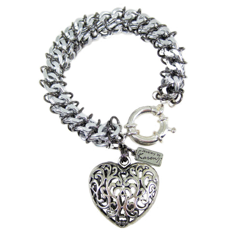#103b Silver Tone Chain Mail Rope Bracelet With Filigree Heart