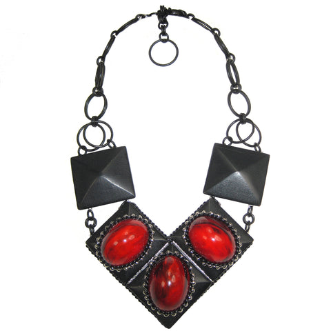 #1058n Retro Red & Black Bib Necklace