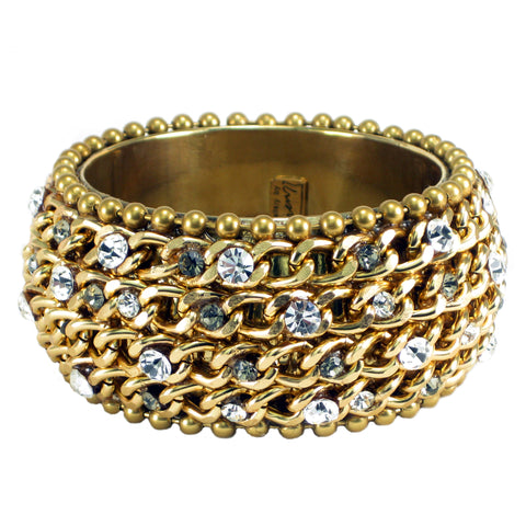 #1000b Gold Tone Chain, Crystal & Hematite Rhinestone Embellished Bangle Bracelet