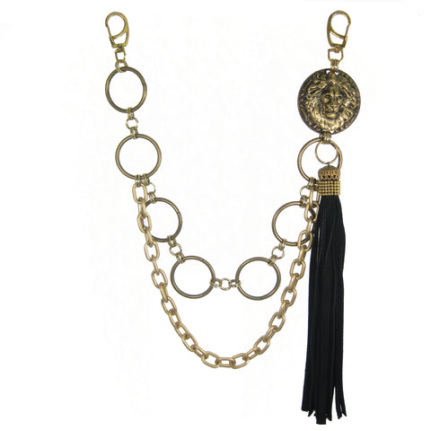 #1000bc Gold Tone Belt Chain With Suede Tassel & Lion Head Medallion