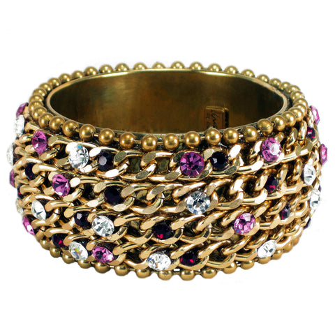 #1001b Gold Tone Chain, Ruby, Pink & Crystal Rhinestone Embellished Bangle Bracelet
