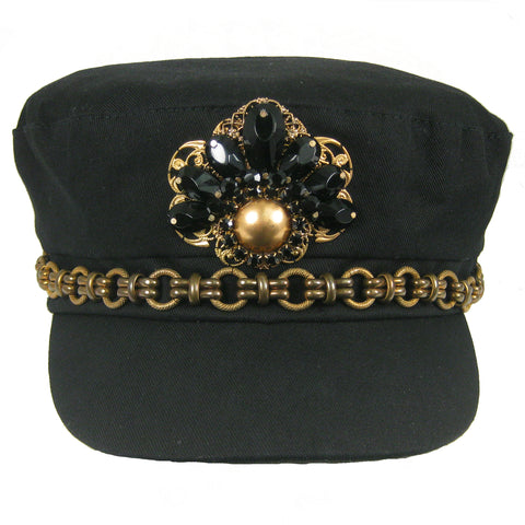 #1001h Black Newsboy Cap With Brass Chain, Filigree & Jet Glass Embellishment