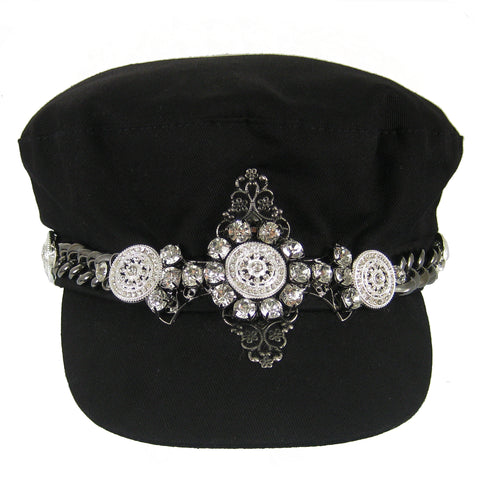 #1002h Black Newsboy Cap With Gunmetal Chain, Filigree & Rhinestone Embellishment
