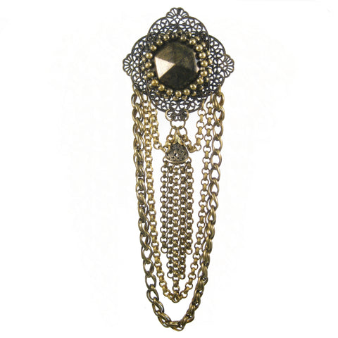 #1002p Old Gold Filigree & Chain Pin With Tassel